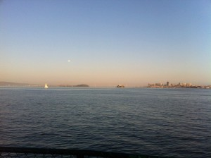 Moon rising at sunset during Angel Island Ferry's 1st Sunset Cruise of the season.