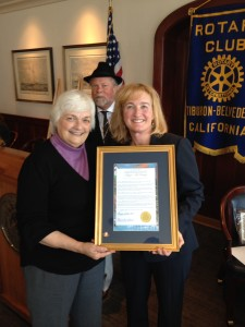 Tiburon Mayor Alice Fredrick's presents Captain Maggie McDonogh with Tiburon Peninsula Citizen of the Year Citizen of the Year Award.