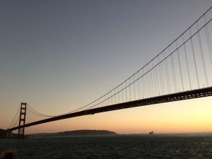 Golden Gate Bridge as seen from an Angel Island Tiburon Ferry Sunset Cruise