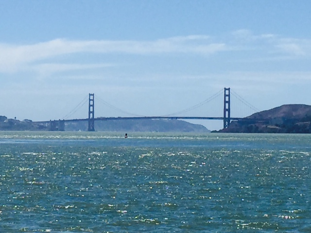 Golden Gate Bridge from Tiburon with Angel Island Ferry